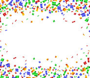 Colorful celebration frame background with confetti. Royalty Free Stock Photo