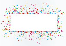 Confetti celebration frame background. Colorful celebration frame background with confetti. Vector Royalty Free Stock Photo