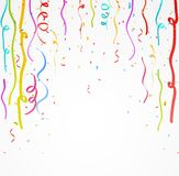 Colorful celebration ribbon with confetti Royalty Free Stock Images