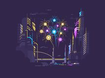 Colorful celebratory salute. Over city late at night. Vector illustration Royalty Free Stock Photo