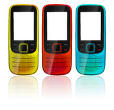Colorful cell phones Stock Images