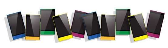 Colorful Cell Smart Phone Set Responsive Design Blank Screen Digital Device Royalty Free Stock Image