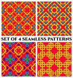 Colorful celtic knot seamless patterns. Set of 4 abstract trendy celtic knot seamless patterns of yellow, red, blue, green, violet, and orange shades Royalty Free Stock Photo