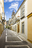 Colorful center street. Spanish village Royalty Free Stock Photography