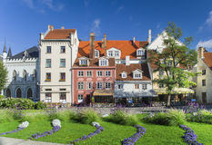 Colorful central square in old Riga, Latvia Royalty Free Stock Image