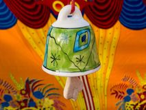 Colorful Ceramic Bell. A colorful Ceramic Bell in a tribal art and handicraft festival in India. Rajasthan art and craft royalty free stock image
