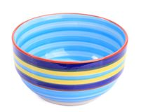 Colorful ceramic bowl. On a white background stock images