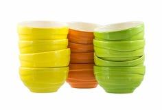 Colorful ceramic bowls. Isolated on white background Royalty Free Stock Image
