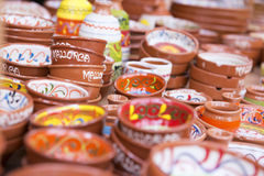 Colorful Ceramic Bowls in Mallorca Royalty Free Stock Image