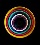 Colorful ceramic bowls stacked high royalty free stock images