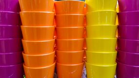 Colorful ceramic flower pots royalty free stock photography
