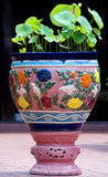 Colorful Ceramic Flowerpot,Asian Style. The closeup of ceramic flowerpot stock photo