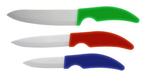Colorful Ceramic Kitchen Knives isolated Stock Image