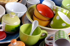 Colorful ceramic kitchen utensils Stock Images