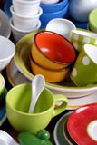Colorful ceramic kitchen utensils Royalty Free Stock Image