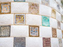 Colorful ceramic mosaics in park Guell, Barcelona Stock Photography