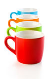 Colorful ceramic mugs Stock Photos