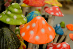 Colorful ceramic mushrooms Stock Photos