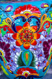 Colorful Ceramic Orange Blue Flowers Pot Dolores Hidalgo Mexico Stock Photos