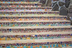 Colorful pattern of stairs from broken ceramic tile royalty free stock images