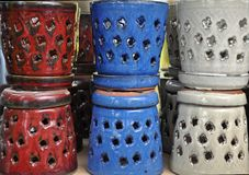 Colorful ceramic planters stock photos