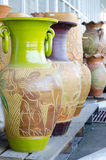 Colorful ceramic pots Royalty Free Stock Images