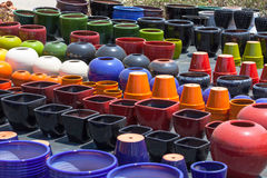 Colorful ceramic pots in market Stock Photo