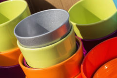 Colorful ceramic pots in market, sunny day Stock Photography