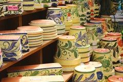 Colorful ceramic pots in Mijas Royalty Free Stock Photo