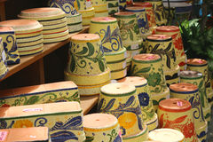 Colorful ceramic pots in Mijas Royalty Free Stock Photos