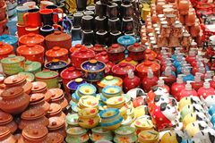 Colorful ceramic pots and utensils Royalty Free Stock Images