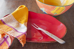 Colorful ceramic serving dishes Royalty Free Stock Images