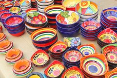 Colorful ceramic pottery, Spain. Colorful hand made ceramic pottery for sale at the weekly markets at the isle of Mallorca, Spain Royalty Free Stock Image