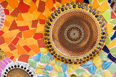 Colorful ceramic and stained Glass wall background at wat phra t Stock Photo