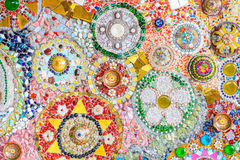 Colorful ceramic and stained Glass wall background at wat phra t Royalty Free Stock Images