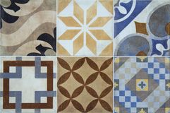 Colorful ceramic tiles with Portugal mediterranean style pattern background. Royalty Free Stock Image