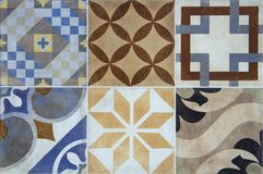 Colorful ceramic tiles with Portugal mediterranean style pattern background. Royalty Free Stock Images