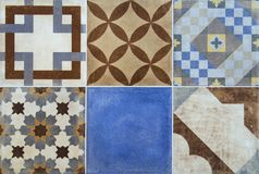 Colorful ceramic tiles with Portugal mediterranean style pattern background. Stock Image