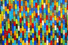 Colorful ceramic on wall for background stock image
