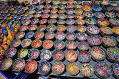 Colorful ceramics exposed on the street, Turkey Royalty Free Stock Photos
