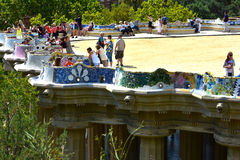 Colorful  ceramics  in Park Guell Stock Images