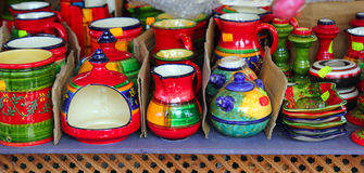 Colorful ceramics pottery painted vivid color clay Stock Images
