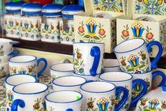 Colorful ceramics in traditonal polish market. Royalty Free Stock Photo
