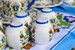 Colorful ceramics in traditonal polish market. Royalty Free Stock Photo