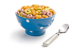 Colorful cereal rings in bowl. On white background Stock Photo