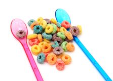 Colorful cereal and spoons Stock Photo