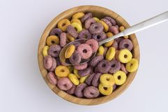 colorful cereals in the shape of circles for a healthy breakfast royalty free stock photography
