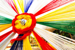 The Colorful of ceremonial thread with rainbow color Royalty Free Stock Images