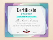 Colorful Certificate of Achievement Background Royalty Free Stock Photos