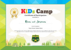 Colorful certificate of partipation for kids activities or kids. Colorful and modern certificate of partipation for kids activities or kids camp with camping Royalty Free Stock Image